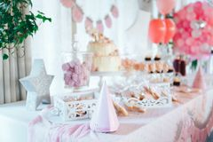Pink candy bar for first birthday. Sweet table and big cake for first birthday.  stock image