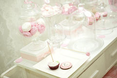 Pink candy bar. The holiday table decoration Stock Photos