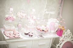 Pink candy bar. The holiday table decoration Stock Photography