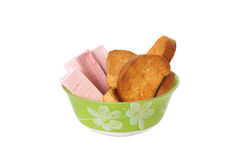 Pink candy and cookies dish freezes. Royalty Free Stock Photo