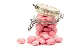 Pink candy in a glass jar Stock Image