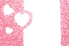 Pink candy shaped as hearts isolated on white. stock photography
