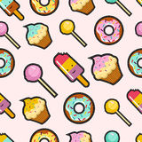 Pink candy stitch patch style seamless background Stock Photos