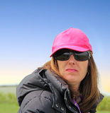 Pink cap and lipstick girl Royalty Free Stock Photography