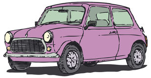 Pink car. A pink old-timer (Mini Morris) on the other half of the twentieth century Stock Image