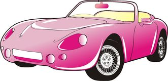 Pink car. One pink car graphic illustration Royalty Free Stock Photography