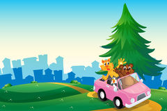 A pink car with animals running at the hilltop Royalty Free Stock Image