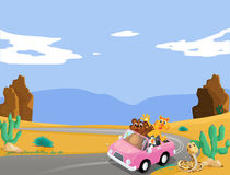 A pink car with animals travelling. Illustration of a pink car with animals travelling Royalty Free Stock Photo