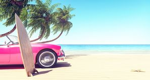 Pink car on the beach in front of palm trees, summer background stock images