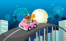 A pink car with a bear, a tiger and a penguin. Illustration of a pink car with a bear, a tiger and a penguin Royalty Free Stock Images