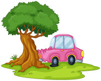 A pink car bumping the giant tree Royalty Free Stock Image