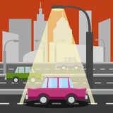 Pink car in evening city Stock Image