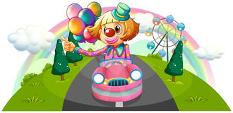 A pink car with a female clown Royalty Free Stock Image