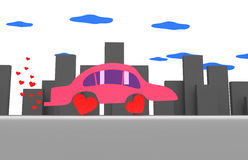Pink car in a gray city Stock Photos