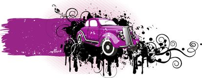 Pink_car_grunge_version Stock Afbeelding