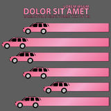 Pink car icons and hollow tab Royalty Free Stock Image
