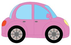Pink car. Illustration pink car on a white background stock illustration