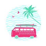 Pink car with surfing board and palm tree. Vector summer illustration. Royalty Free Stock Photos