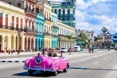 Magic old havana. Pink car in th beautiful and magic old havana Royalty Free Stock Image