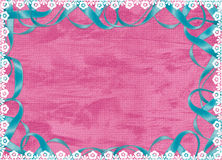 Pink card with blue ribbon and laces. Pink card with blue ribbon and white laces Royalty Free Stock Image
