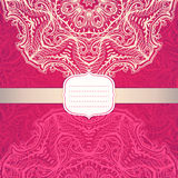 Pink card with a circular ornament Royalty Free Stock Photography