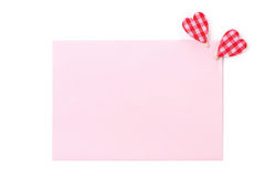 A pink card for congratulation with hearts, close-up, isolated Royalty Free Stock Photography