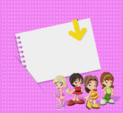 Pink card with cute cartoon girls Royalty Free Stock Photos