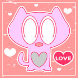 Pink card with cute kitten Stock Photography