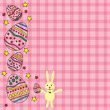 Pink card for Easter with egg and rabbit vector Royalty Free Stock Images