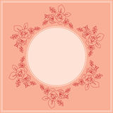 Pink card with floral ornament - vector Royalty Free Stock Image