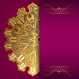 Pink card with gold pattern Stock Image