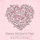 Pink card with heart of flowers for Mother's Day Stock Image