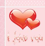 Pink card with hearts Royalty Free Stock Photos