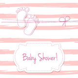 Pink  card invitation for baby shower, arrival or birthday card with  stripes and baby foot steps. Royalty Free Stock Photos