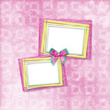 Pink card for invitation or congratulation with frame Stock Photography