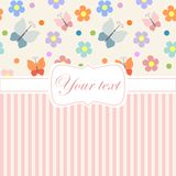 Pink card invitation with flowers and stripes Stock Images