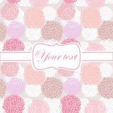 Pink card invitation with pion flowers Royalty Free Stock Image