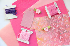 Pink Card Making Composition. A process of card making for Valentine's day in pink and pastel colours Royalty Free Stock Photography