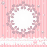 Pink card with pearls, lace and flowers Stock Image