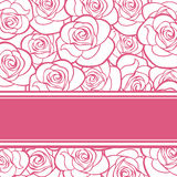 Pink card with roses. Royalty Free Stock Photo