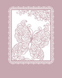 Card with stylization butterfly Stock Images