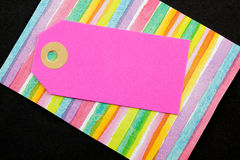 Pink card tag. Stock Photos