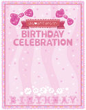 Pink card to the birthday celebration Stock Images