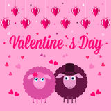 Pink Card for Valentine's Day. Royalty Free Stock Images