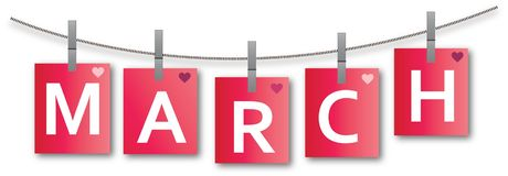 March cards hanging on clothesline with clamps vector. Pink cards with colorful hearts hanging on clothesline with claps. On the cards is written the word march Stock Photography