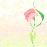 Pink carnation. Vector illustration consisting of a pink carnation on a background with small geometric shapes Royalty Free Stock Photography