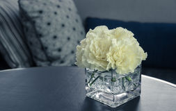 Pink carnation flower in a glass vase Royalty Free Stock Images