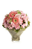 Pink carnation with herbera bouquet. On white background isolated Royalty Free Stock Photography