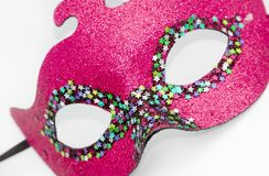 Pink carnival mask. On white Royalty Free Stock Photography