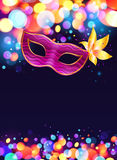 Pink carnival mask and bokeh lights dark blue stock illustration